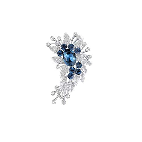 ZWSHOP Broche de cristal de trigo, para mujer, elegante, accesorio de ropa, regalo para madre, 6,9 x 4,8 cm (color: azul oscuro)