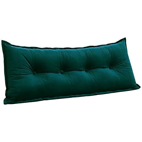 VERCART Lounge Rückenkissen Gepolstert Kopfteil Lesekissen Groß Sofa Kissen Rückenlehnen Kopfkissen Bett Keilkissen mit Abnehmbarem Bezug Samt Türkis 120cm
