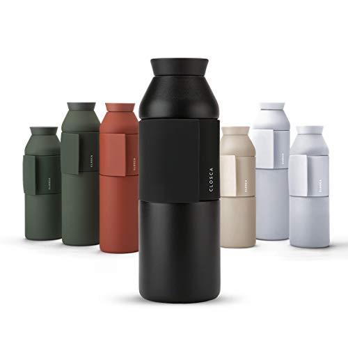 Closca Wasserflasche aus Edelstahl Bottle Wave. Thermosflasche zum Einhängen für Kinder und Erwachsene. BPA-frei (Black, 600 ml)