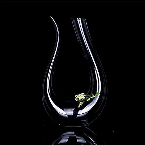 Elegante Conjunto De Decantador Cristal Decantador De Vino Y Aireador Mesa Aireador De Vino Decantador Reutilizable Decantador Exquisito Decantador Vino Para Vino Tinto Coñac Bourb-Lirio amarillo tipo