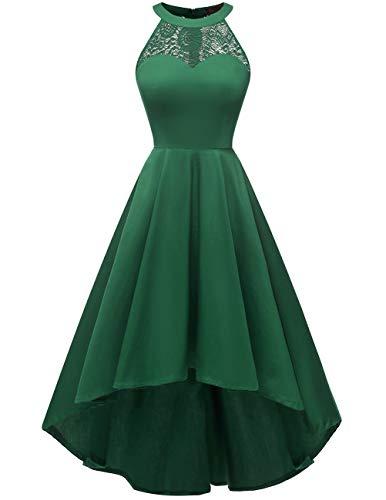 DRESSTELLS Damen 50er Vintage Rockabilly Kleid Neckholder Cocktailkleid Vokuhila Festliche Kleider für Hochzeit Green XL