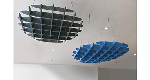 UPLIFT Desk - 3D Acoustic Ceiling Waffle Cloud, Large (Lagoon Blue)