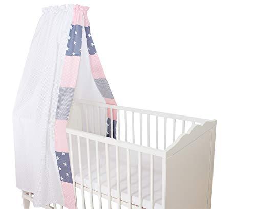 ULLENBOOM ® Betthimmel Baby 135x200 cm Rosa Grau (Made in EU) - Babybett Baldachin aus ÖkoTex Baumwolle, für 60x120 cm & 70x140 cm Kinderbett, Motiv: Punkte, Sterne, Patchwork