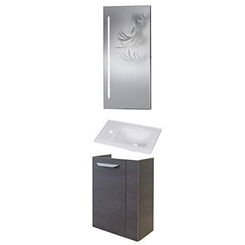 Fackelmann smal badkamermeubel set 3-dlg. Lavella gastenbad met onderkast hangend & glazen bassin 45 cm & badkamerspiegel