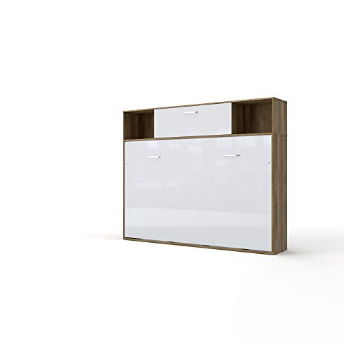 Lowest Price! Contempo Horizontal Wall Bed, Double XL Size with a Cabinet on top (Oak Country/White)