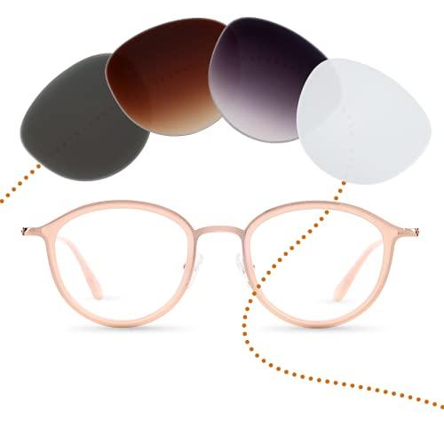 Sym Runde Brille mit Sehstärke von -4,00 bis +4,00 mit auswechselbaren Gläsern in 6 Farben für Kurzsichtigkeit und Weitsichtigkeit - Damen & Herren (Unisex) - Kiez Kollektion Modell Ziggy rose gold