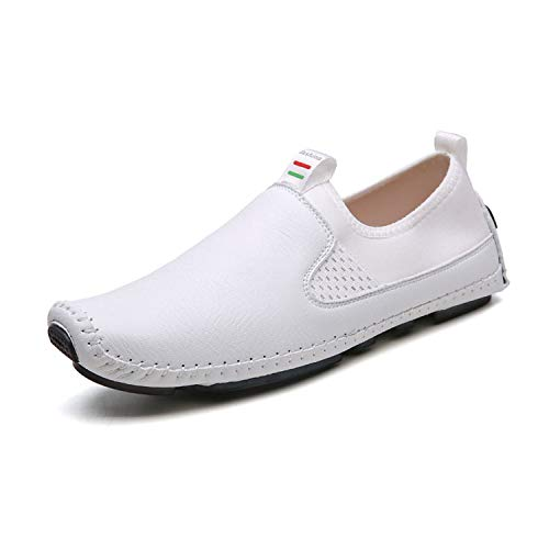 Small Oranges Men Shoes Luxury Brand Mens Loafers Leather Boat Shoes Breathable Men's Casual Shoes,White,9