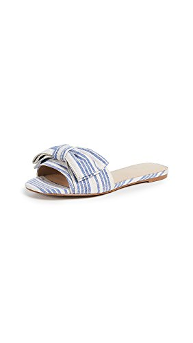 botkier Women's Marilyn Bow Slides, Blue Stripe, 8.5 M US