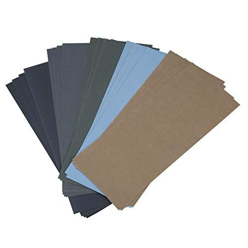 Haudang Papel abrasivo húmedo y seco – 20 unidades, 1000/2000/3000/5000/7000 – Papel de lija para lijar el papel abrasivo para el metal pulido de automóviles.