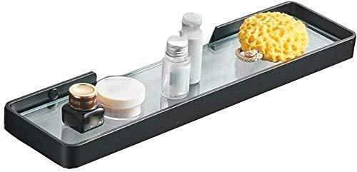 BICCQ Estante de baño, estante de vidrio para baño con nervaduras elevadas y estante de ducha de vidrio templado extra grueso Estante de baño rectangular de montaje en pared de vidrio (tamaño: 46,5 cm