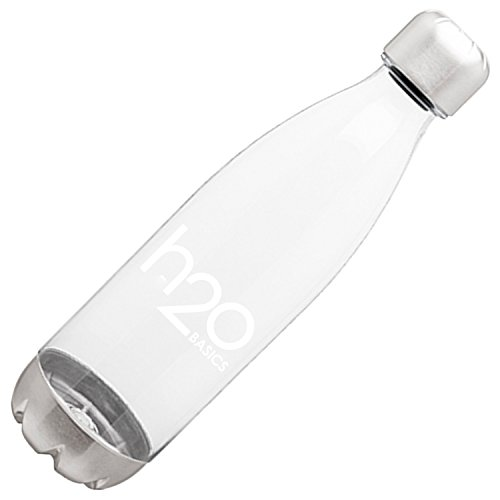 H2O Basics BPA-Free Sport Water Bottles 25 oz, Tritan Non Toxic Plastic, Reusable Flask with Stainless Steel Leak Proof Twist Off Cap & Steel Base, Cola Bottle Shape (Clear, 25 Ounces)