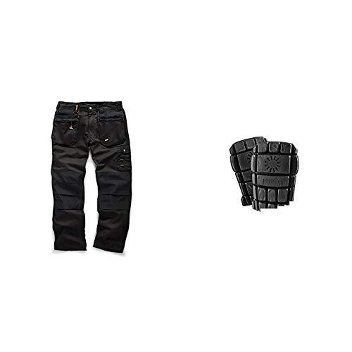 Scruffs Worker Plus Trouser Leg, Black, 34R (Manufacturer Size: 44) & T50302 04 Flexible Knee Pads (A Pair)