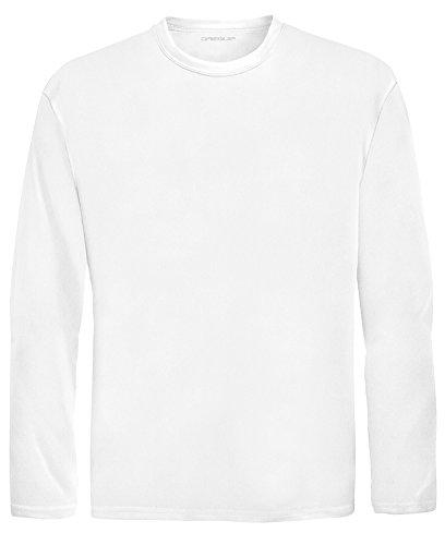 DRI-EQUIP Youth Long Sleeve Moisture Wicking Athletic Shirts. Youth Sizes XS-XL, White, Medium