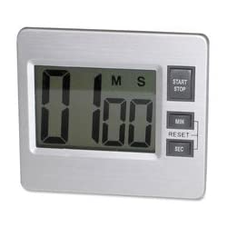 Digital Timer, Desk/Wall, 3-3/8x3/4x3, Silver/Black, Sold as 2 Each