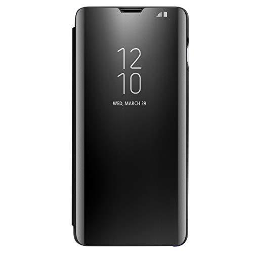 Coque pour Samsung Galaxy s10 Housse Support à Rabat Clear View Cover Flip Case (Noir)