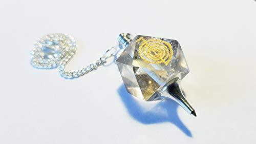 Péndulo de cristal de roca con gargantilla para reiki