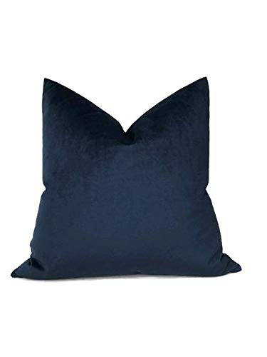 made to order Decorative Pillow Cover Indigo Navy Blue Pick Your Size Midnight Blue Velvet Pillow Cover