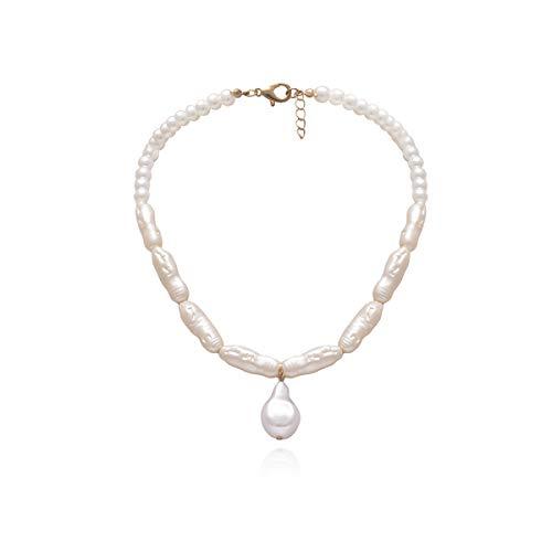 N\O Collar de Perlas de imitación de Estilo Bohemio Collar Estilo Collar de Cadena de clavícula Corta Collar Colgante para joyería de Mujer