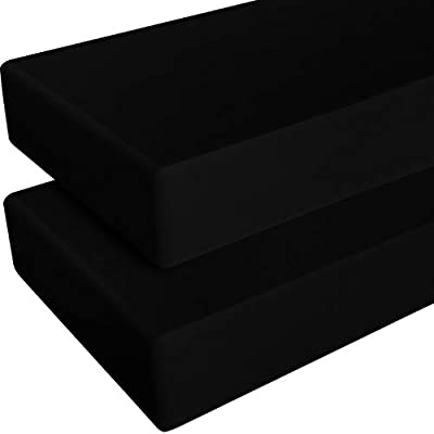 NTBAY 2 Pack Microfiber Fitted Crib Sheets, Cozy and Soft Solid Color Toddler Sheets, 28 x 52 Inches, Black