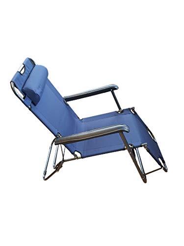 Provance Sonnenliege klappbar HBT 35 x 60,5 x 153 cm Gartenliege 3-Fach verstellbar mit Polyesterbezug und Armlehnen Liegestuhl zum Klappen mit abnehmbarem Kopfpolster als Campingstuhl, dunkelblau