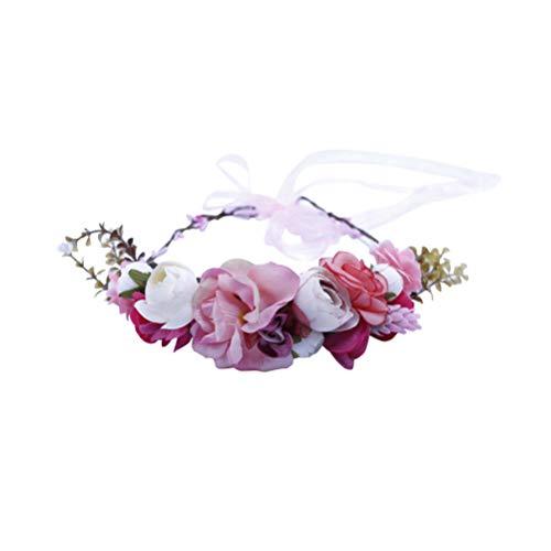 Minkissy rozenbloemenkrans hoofdband bruiloft bruid halo bloemenkroon slinger hoofdsieraad met band bruiloft festival party foto rekwisieten roze