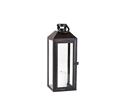Villa Collection Lantaarn van glas en metaal in zwart, 14 x 14 cm