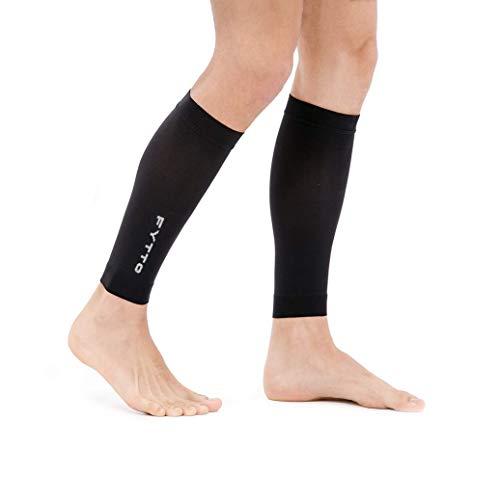 FYTTO 1022 fußlose Kompressionsstrümpfe Klasse 1 mit medizinisch abgestufter Kompression 15-20 mmHg, kniehohe Stützstrümpfe ohne Fuß, medizinische Kompressionsstulpen für Damen und Herren, weiß - L