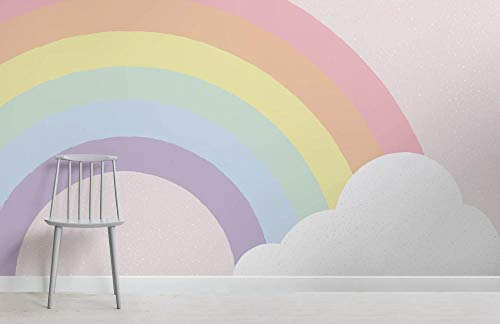 Girlande Kinder Pastell Regenbogen 3D Fototapete Bild Dekoration Fresco Decor Schlafzimmer 200×150cm