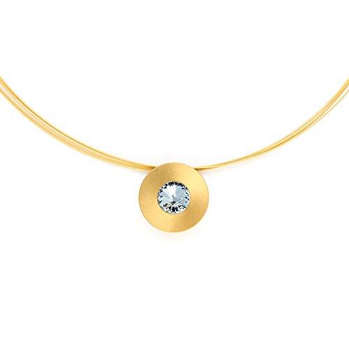 Heideman Halskette Damen Lumen aus Edelstahl Gold farbend matt Kette für Frauen mit Swarovski Stein Weiss