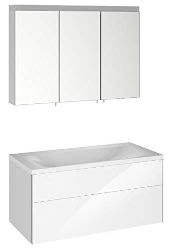 Keuco Badmöbel-Set mit Waschtisch, Waschtisch-Unterbau mit Frontauszug, LED-Spiegel-Schrank dimmbar, mit 3 Türen, Breite 100 cm Royal Reflex