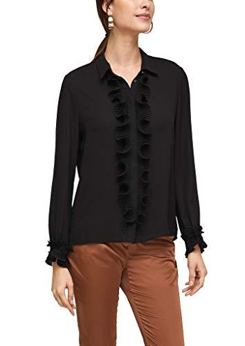 s.Oliver BLACK LABEL Damen Bluse mit plissierten Volants Black 44