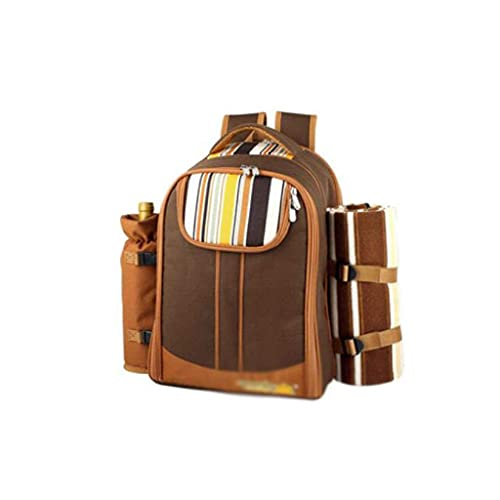 Picnic Mat, Waterproof Picnic Backpack for 4 Person,Picnic Hamper with Complete Cutlery Set,Fleece Blanket,Plates for Picnic Time Color : Blue (Color : Brown)