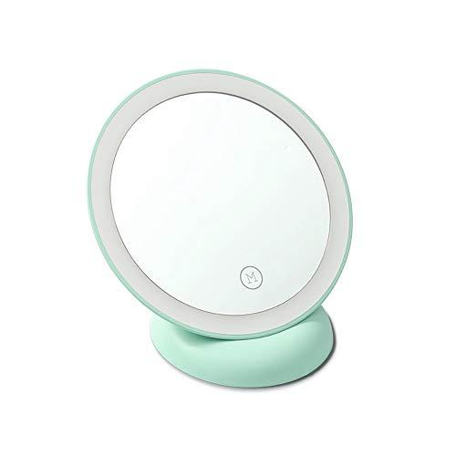 HAJZF Maquillage Voyage Léger Miroir, LED Daylight Compact Portable Miroir Cosmétique avec Batterie Rechargeable, À 360 ° Miroir De Maquillage LED Rechargeable Adsorption Miroir Illuminé,Vert
