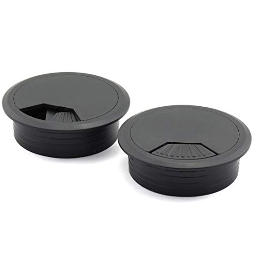HJ Garden 2pcs 2 inch Desk Wire Cord Cable Grommets Hole Cover for Office PC Desk Cable Cord Organizer Plastic Cover Black