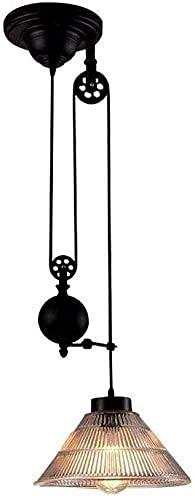 WGFGXQ Pantalla de Vidrio Polea Candelabro Industria Hierro Arte Luces Colgantes de Metal E27 Luces de Techo Edison Luces Colgantes Ajustables Ático Dormitorio Cocina Araña