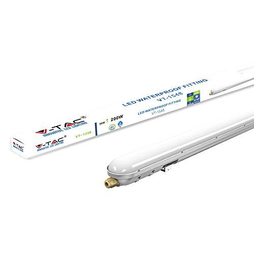 V-TAC VT-1548 48W IP65 Weatherproof 5ft LED Batten Tube Light Ideal für Außenparkplätze, Warenlager, Fabriken (1480x76x66mm) Enthält 1 4500K Tagesweiß 20000 Std Lebensdauer, Plastic+ABS, 48 W