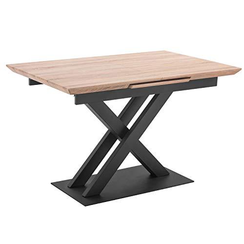 Adec Victory, Mesa de Comedor, Mesa de Salon o Cocina, Color Roble y Estructura Metalica en Color Negro, Medidas: 120/160 cm (Largo) x 80 cm (Ancho) x 76 cm (Alto)