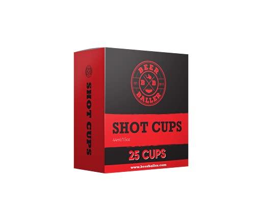BeerBaller Shot Red Cups - 25 Vasos de Shot Pong rojos | Vasos de plástico retro americanos originales para tu bar, festival y fiesta de estudiantes