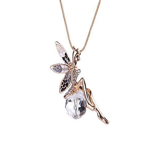Kaijia Collar con colgante de cristal transparente con cadena de serpiente para mujer