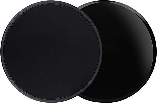 Pazalor Core Sliders - Doppelseitiges Fitness-Slidepad für Abs, Gesäß und Beine. Gleitscheiben Gliding Discs (Schwarz)