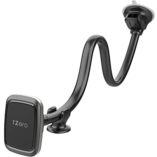 Magnetic Phone Car Mount [14-Inch Gooseneck Long Arm Extension], 1Zero Universal Windshield Dashboard Industrial-Strength Suction Cup Car Phone Holder with 6 Strong Magnets, for All Cell Phones iPhone