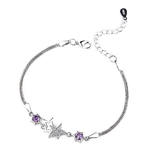 Hilier 925 Sterling Silver'Twins Star' Bracelet for Girls and Women (Purple)