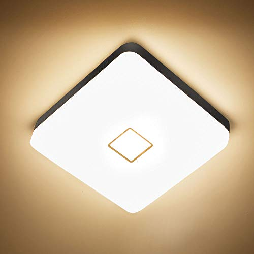 NOWES LED Deckenleuchten 24W 2700K 2100lm Deckenlampe, IP54 Wasserdichte Badlampe, CRI 90+ Feuchtraumleuchte Ideal für Badezimmer, Wohnzimmer, Schlafzimmer, Küche, Flur (Warmweiß)