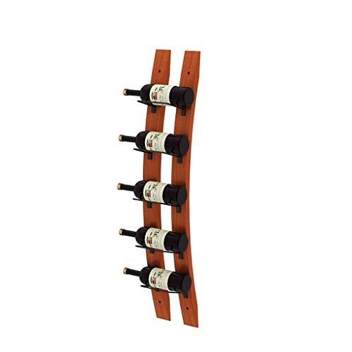 Soporte organizador de botelleros Vino de madera del estante 5 botellas apilable almacenaje de la exhibición montada en la pared del vino titular perfecto for Bar Cava Cueva Gabinete Estantes de exhib