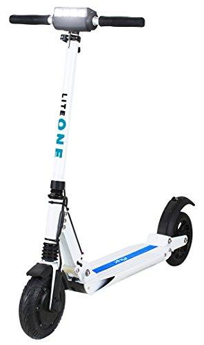 eFlux Lite One Elektroroller Scooter - 500 Watt Motor - Bis 30 km/h - 30 Km Reichweite - Nur 10,8 Kg leicht - Klappbar - E-Scooter (Lite One Weiß Blau)