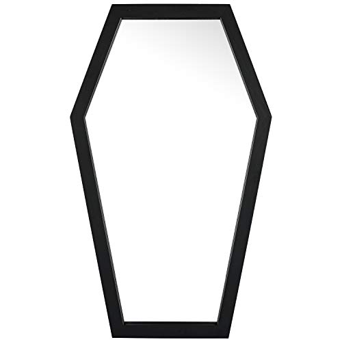 Coffin Mirror - Spooky Wall Mirror - Gothic Home Decor for Bathroom, Living Room or Bedroom - Wooden Vanity Mirror - Makeup Mirror - Black - 20x12 Inches by HanSoar