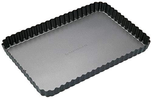 Master Class Rechteckige Antihaft-Kuchenform/Quicheform mit gewelltem Rand und losem Boden, Stahl, Schwarz, 31 x 21 x 2.5 cm