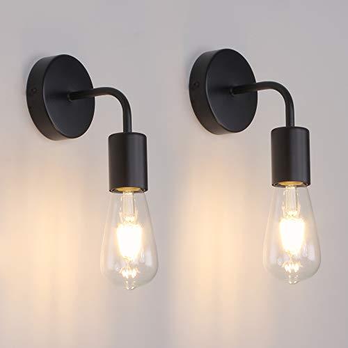 MantoLite 2pcs Luces De Pared Negras Simplicity Vintage Industrial Luz de Noche Para Mesita de Noche E27 Edison Bulbs Aplique de Pared Para Iluminación de Restaurante de Hotel (Bombilla No Incluida)