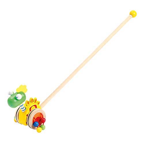 Bino & Mertens 81671 Bino Schiebelaufrad Dinosaurier Holzspielzeug Schiebe-Laufrad im Dino-Design Spielzeug für Kinder ab 2 Jahre (bewegender, besonders robust, Maße: 7 x 7 x 55 cm), Bunt