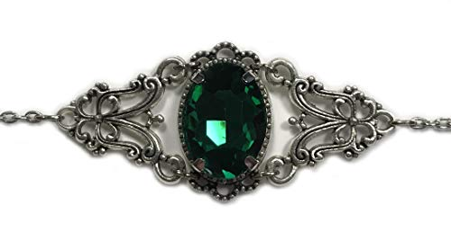 Silver Celtic Elven Queen Circlet Headpiece Headdress Crown Tiara Bridal Wedding Renaissance Medieval Halloween (Emerald Green)